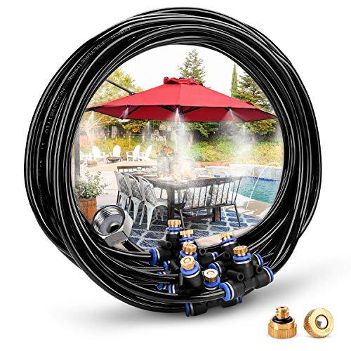 HAVIT Bewässerungssystem Outdoor Misting System Einstellbar Wasser Cooling Sprinkler-System mit Fein vernebeltes Wasser für Treibhaus Gärten, Schwimmbad, Laube (8 Meter)