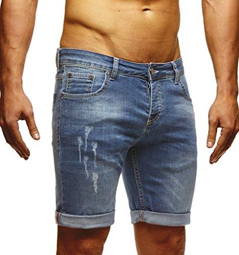 LEIF NELSON Herren Jeans Shorts LN1397; W32; Blau