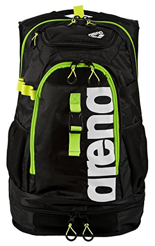 arena Unisex Profi Triathlon Rucksack Fastpack 2.1 für Schwimmer und Triathleten (11 Fächer, 40x35x55cm), Dark Grey-Acid Lime-White (16), One Size