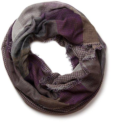 styleBREAKER warmer Karo Muster Loop Schlauchschal mit Fransen, Unisex 01018037, Farbe:Grau-Beige-Lila
