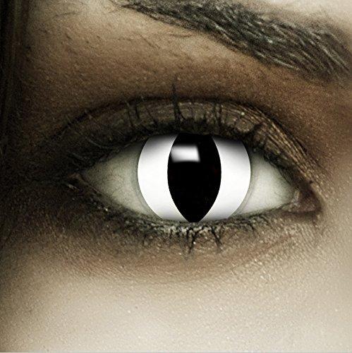 Farbige weiße Kontaktlinsen Weiße Katze + Kunstblut Kapseln + Behälter von FXCONTACTS®, weich, ohne Stärke als 2er Pack - perfekt zu Halloween, Karneval, Fasching oder Fasnacht