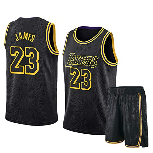 Lebron James # 23 Herren-Basketballtrikot - NBA Los Angeles Lakers, ärmellose T-Shirts, Jersey Und Kurze Hosen,Black(B)-XL