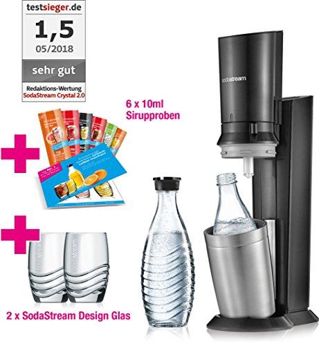 SodaStream Crystal 2.0 Promopack Glaskaraffen Wassersprudler zum Sprudeln von Leitungswasser,Titan