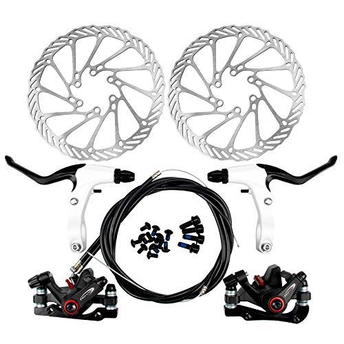 Yorbay Fahrrad Scheibenbremse Set, 160mm Scheiben und vorne hinten Bremse mit BB5 Bremsbeläge und Kabel (Schwarz)