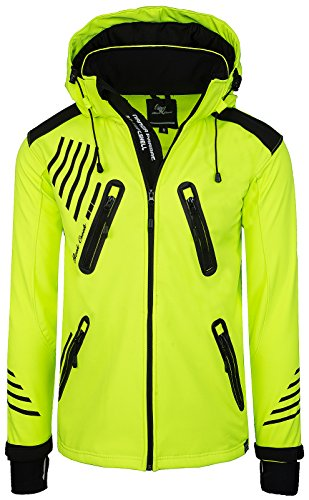 Rock Creek Herren Softshell Jacke Outdoorjacke Windbreaker Übergangs Jacke H-140 [Neonyellow 4XL]