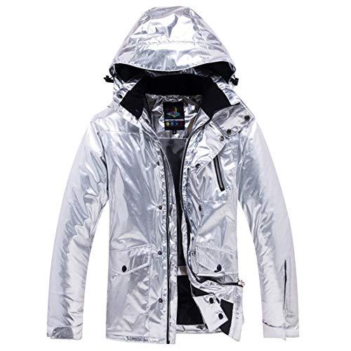 MALLTY Erwachsene Mountain Ski Jacket Windproof Rain Jacket für das Wandern von Snowboard (Color : Silver, Size : XXXL)