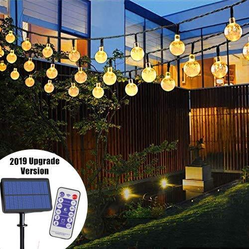 LED Solar Lichterkette   Lunlight 6M 40 LED Solar Beleuchtung Lichterketten Kristall Kugeln   Warmweiß, 14-30 Stunden, Wasserdicht, für Terrasse, Hochzeiten, Events [Energieklasse A+]