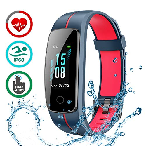 LATEC Fitness Armband mit Pulsmesser, IP68 Wasserdicht Fitness Tracker Farbbildschirm Aktivitätstracker Pulsuhren Schrittzähler Uhr Smartwatch /14 Trainingsmodi/Musiksteuerung/Stoppuhr/SMS/Nachrichten