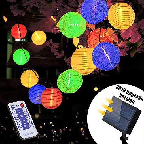 Solar LED Lichterkette Außen mit Fernbedienung   Lunlight 6m 30 LED 5.5V Upgrade Version bunte/farbige Lichterkette Lampions, LED Laterne String Lights für Heim und Garten