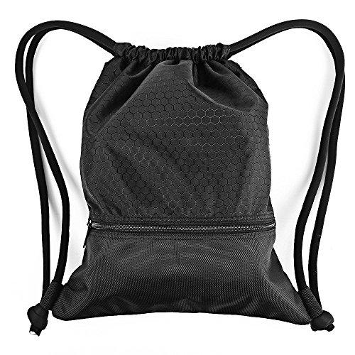 Turnbeutel Zenwow Beuteltasche Sportbeutel Gymsack Tasche Rucksack - wasserdicht Schwimmen Training Boxen für Strand Schule Kinder Jungen Mädchen Sport Sack Judo Netball Gym PE Tasche,schwarz