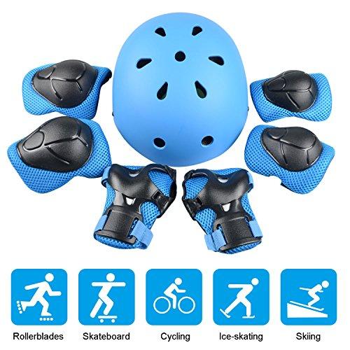 JIM'S STORE Kinder Sport-Schutzausrüstung 7PCS Knieschoner Ellenbogenschoner Handgelenkschutz Helm Schutzset zum Draussen Rollschuhlaufen Inline Skates Skateboarding Radfahren Blau