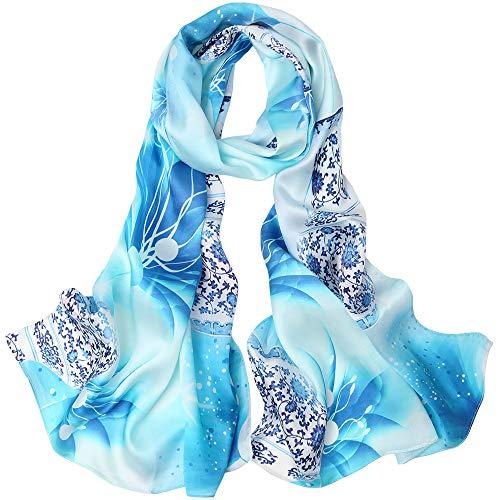 Seidenschal Damen Schal 100% Seiden Satin Hochwertiger Seidentuch Hautfreundlich Glatt Anti-Allergie 175 * 65cm (Seiden Satin-blau) MEHRWEG