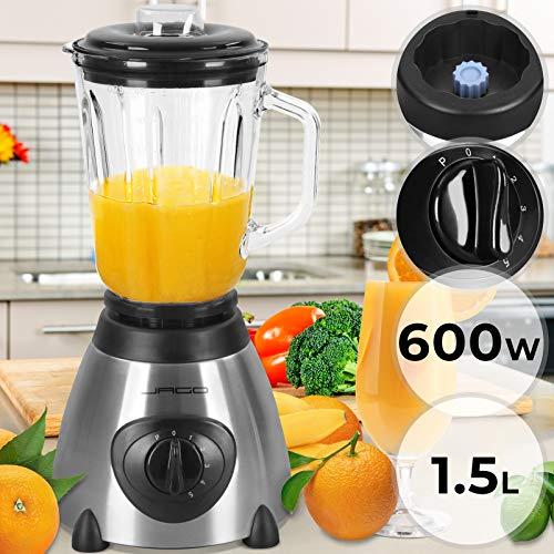 Standmixer 600 W | mit 5 Geschwindigkeitsstufen, Volumen: 1,5 L, aus Edelstahl | Haushaltsmixer, Mixer Blender, Smoothie Maker