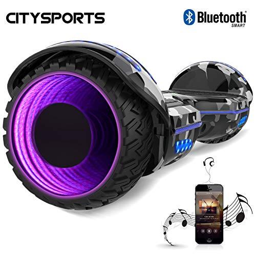 CITYSPORTS 6,5 Zoll Hoverboard, selbstausgleichender Roller mit LED-Rad und eingebautem Bluetooth, 2 * 350W Motor
