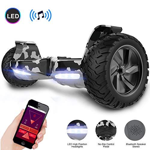 GeekMe Hoverboard All Terrain Self Balancing Scooter mit leistungsstarker LED-Motorbeleuchtung Bluetooth-App für Erwachsene und Kinder 8,5 Zoll