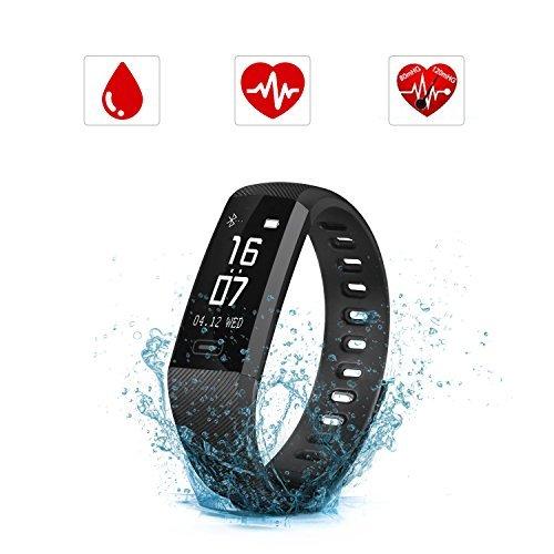 SAVFY Fitness Tracker mit Pulsmesser IPX7 Touchdisplay Bluetooth 4.0 Herzfrequenz Fitnessarmband Aktivitätstracker mit Blutdruckmesser für Android und iOS