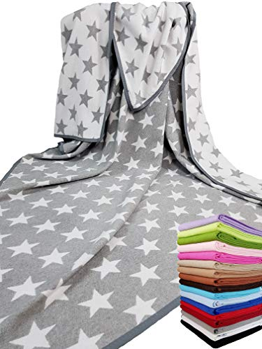 STTS International Baumwolldecke Wohndecke Kuscheldecke Tagesdecke 100% Baumwolle sehr weiches Plaid Korsika (Grau-Weiß (Stern), 140 x 205 cm)