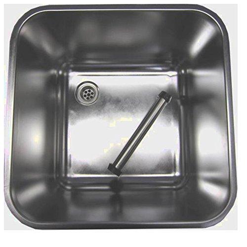 Gastro Spülbecken aus Edelstahl 40x40x30cm mit Ablaufventil & Standrohr