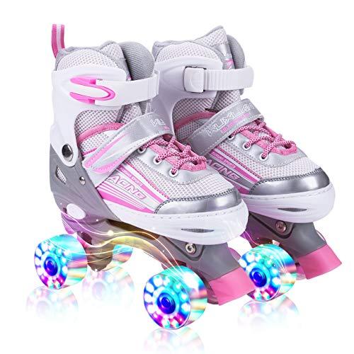 Kuxuan Saya Pink Rollschuhe für Kinder,Leucht Roller Skates Damen (Roller Skate, Medium(32-35EU))