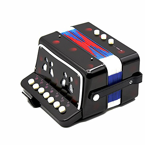 Andoer® Kinder-Akkordeon mit 7 Tasten, 2 Bass-Knöpfen und 1 Blasebalg, Mini-Akkordeon, lehrreiches Musikinstrument / Spielzeug schwarz