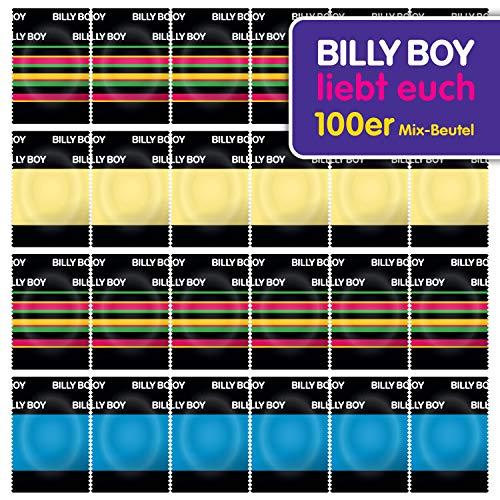Billy Boy Kondome 100er Beutel Mix-Sortiment aus bunten, perlgenoppten, aromatisierten und extra feuchten Kondomen
