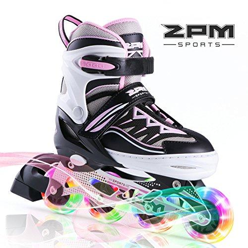2pm Sports Cytia Verstellbar Inliner für Kinder, LED Leucht Inline Roller Skates Rollschuhe für Damen Fun Flashing Skates for Boys and Girls - Pink M(32-35EU)