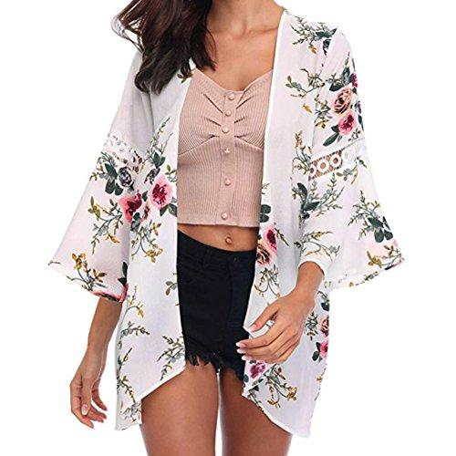 MRULIC Damen Florale Kimono Cardigan Boho Chiffon Sommerkleid Beach Cover up Leicht Tuch für die Sommermonate am Strand oder See (S, X-Weiß)