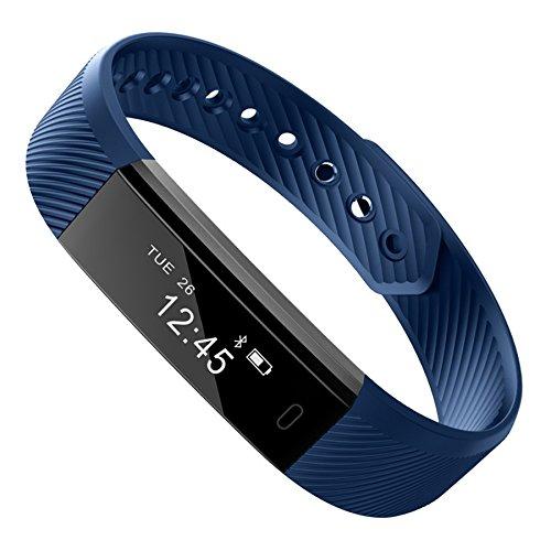 Bluetooth Smart-Armband, Sport Fitness Tracker, wasserdicht IPX7, mit Herzfrequenz-Monitor, Armband mit Herzfrequenz-Monitor, blau, ID115 Smart Watch