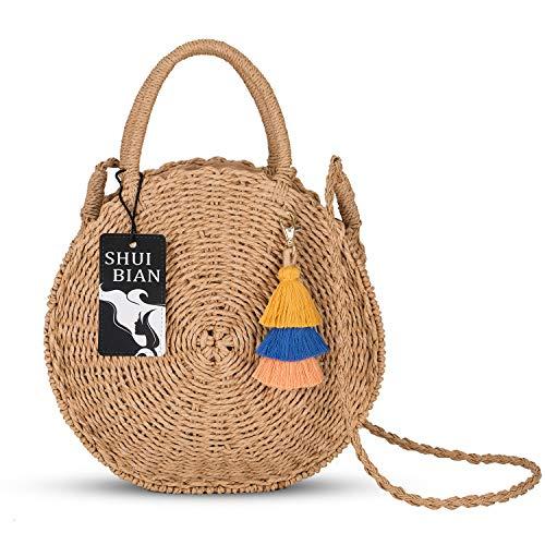SHUIBIAN Runde Stroh Strandtasche Sommer Vintage Handarbeit Umhängetasche Kreis Rattan Tasche böhmische Umhängetasche für Frauen