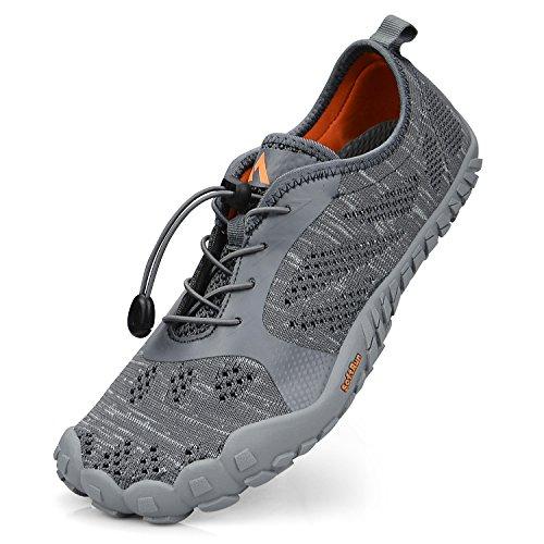 Troadlop Herren Barfußschuhe Badeschuhe Outdoor Fitnessschuhe Breathable Fünf Finger Schuhe Grau 42