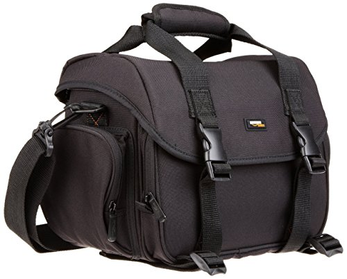AmazonBasics - Große L Umhängetasche für SLR-Kamera und Zubehör, schwarz mit orange Innenausstattung