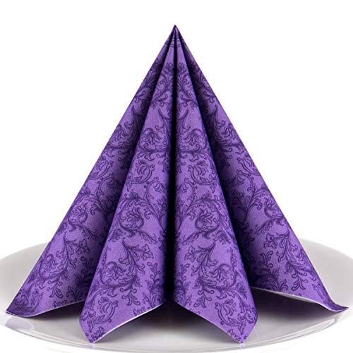 Servietten Ornament lila Premium Airlaid, STOFFÄHNLICH   50 Stück   40 x 40cm   Hochzeitsserviette   hochwertige edle Serviette für Hochzeit, Geburtstag, Party, Taufe, Kommunion   made in Germany