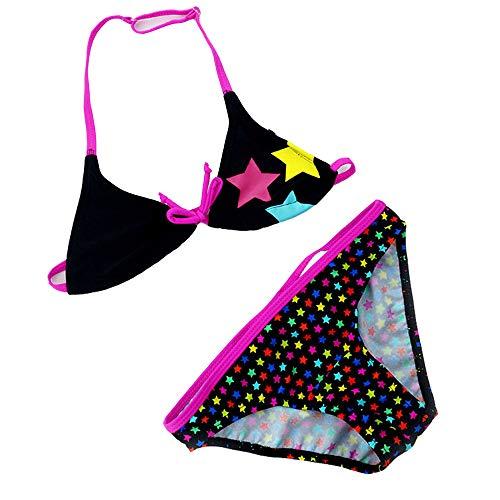 IPBEN Badeanzug Mädchen, Schlinge Bikinis für Kindere Zweiteiliger Quaste Badekleidung Schwimmanzug Bikini Sets (140, rosa Sterne)