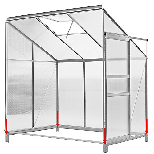 Deuba Beistell Aluminium Gewächshaus | 3,65m³ mit Fundament | 192x127cm | Treibhaus Gartenhaus Frühbeet Pflanzenhaus