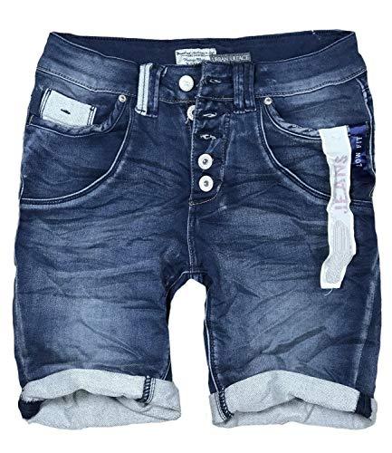 15 Farben Damen Jeans Bermuda Short by Eight2Nine Boyfriend Look tiefer Schritt Jeansbermuda mit Kontrastnähten Washed Kurze Hose (XS, Dark Blue Duo)