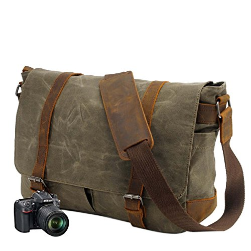 Neuleben Vintage Wasserdicht Kameratasche Aktentasche herausnehmbar Kamerafach Canvas Leder Umhängetasche Fototasche für DSLR Objektiv Laptopfach Update (Grün)