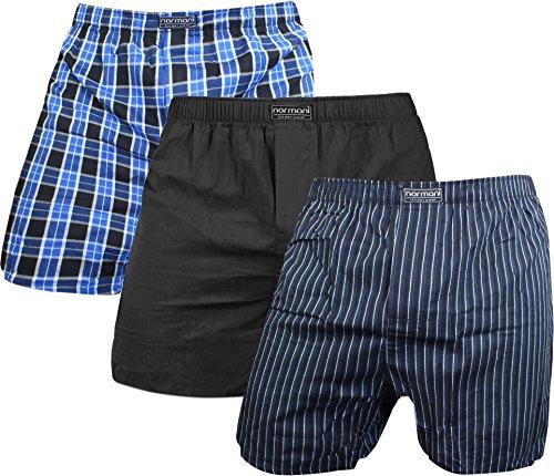 normani Herren Web Boxershorts aus Reiner Baumwolle im 3er Pack Farbe Blau/Schwarz Größe L