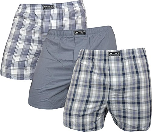 normani 3 x Herren Web Boxershorts aus 100% Baumwolle Farbe Grau Größe M
