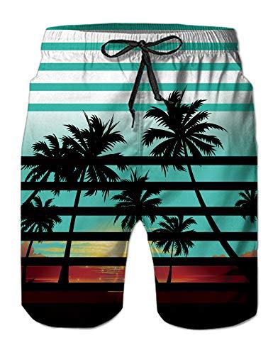 ALISISTER Badehose Herren 3D Neuheit Druck Trocknen Schnell Badeshort Sommer Hawaiian Strand Schwimmhose mit Netzfutter XL