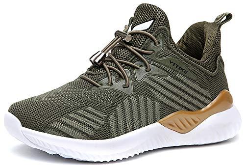 VITIKE Kinder Schuhe Jungen Schuhe Mädchen Sneaker Damen Sportschuhe Outdoor Schuhe Jungen Turnschuhe Laufschuhe Schnürer Freizeit Sportschuhe Kinder Sneaker, 8-grün, 38 EU
