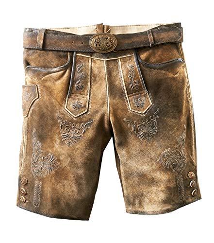 MADDOX Kurze Trachtenlederhose Herren Ammersee Ziller antik, urig und speckig mit Gürtel, Größen Hosen:58