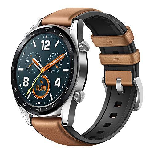 Huawei Watch GT Classic Smartwatch 3,53 cm (1,39 Zoll) Amoled Touchscreen, GPS, Fitness Tracker, Herzfrequenzmessung, 5 ATM wasserdicht, saddle/braun