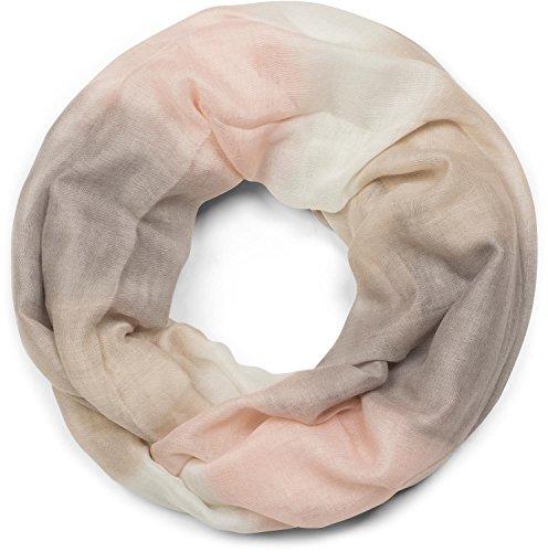 styleBREAKER Loop Schal mit Streifen Farbverlauf Muster, Schlauchschal, Tuch, Unisex 01018097, Farbe:Beige-Grau-Rosa