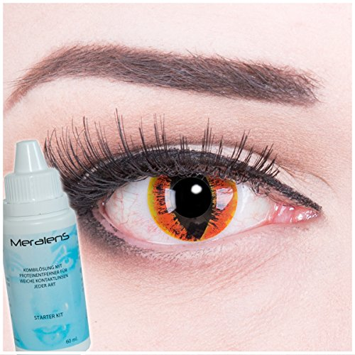 Farbige rote orange braune Crazy Fun Kontaktlinsen crazy contact lenses Manticor 1 Paar perfekt zu Fasching und Halloween. Mit gratis Linsenbehälter + 60ml Pflegemittel