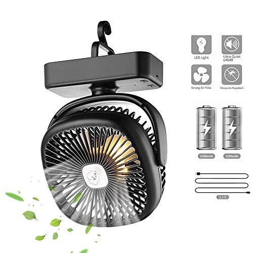 Lixada Mini USB Ventilator mit Led Licht Einstellbar Geschwindigkeiten 4400mAh Wiederaufladbarer Batterie Camping Ventilator mit Haken für Zelt Büro Garage