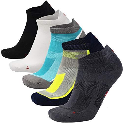 DANISH ENDURANCE Low-Cut Sportsocken (Mehrfarbig (2 x Schwarz, 2 x Grau, 1 x Weiß) - 5 Paare, EU 43-47)