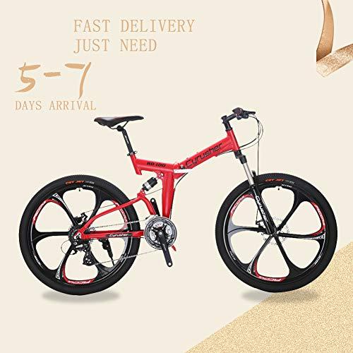 Extrbici Neue rote RD100 66cm Klapprahmen, Mountainbike Shimano M310 Altus 24 Geschwindigkeit 43.2cm Aluminiumrahmen MTB Fahrrad doppelte mechanische Scheibenbremse