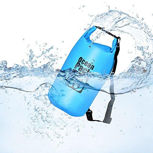 Queta Dry Bag/Wasserdichter Trockenbeutel Wasserfeste Tasche Ideal für Boot, Angeln, Rafting, Schwimmen und Camping Schützt Deine Wertsachen und Kleidung vor Wasser, Sand und Schmutz Blau (10L)