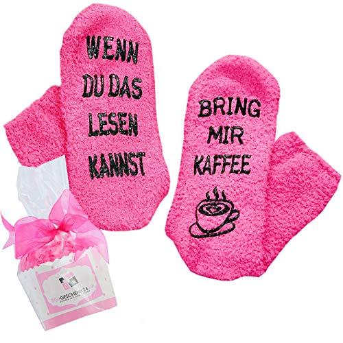 Kaffee Socken,Weihnachtsgeschenke für Frauen, Adventskalender Geschenkidee, WENN DU DAS LESEN KANNST, BRING MIR KAFFEE, Geschenk für Frauen Kaffee-Zubehör, Geburtstags-geschenk, Gastgeschenk (Rosa)