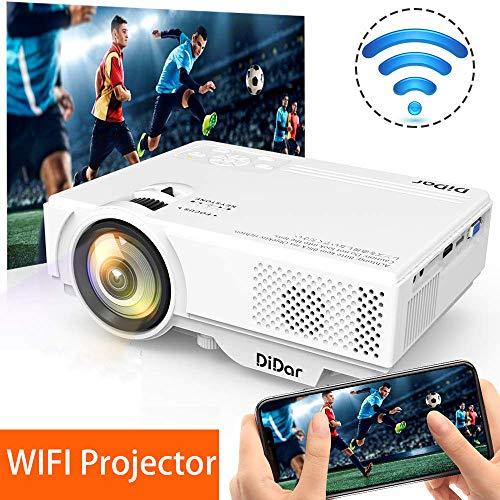 [WiFi Beamer] DIDAR Wireless Mini Beamer 3500 Lumen Mini WiFi Projektor, Video Beamer unterstützt Airplay Miracast DLNA und 1080P HD, Kompatibel mit HDMI VGA USB AV, Heimkino Beamer